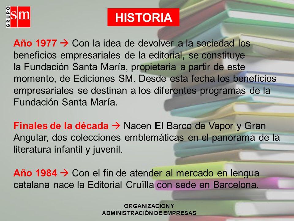 ORGANIZACIÓN Y ADMINISTRACIÓN DE EMPRESAS HISTORIA Año 1977 Con la idea de devolver a la sociedad los beneficios empresariales de la editorial, se con