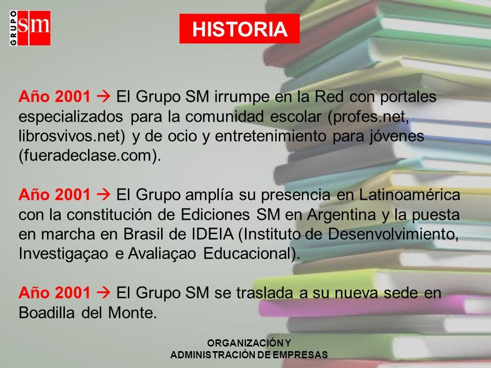 ORGANIZACIÓN Y ADMINISTRACIÓN DE EMPRESAS HISTORIA Año 2001 El Grupo SM irrumpe en la Red con portales especializados para la comunidad escolar (profe