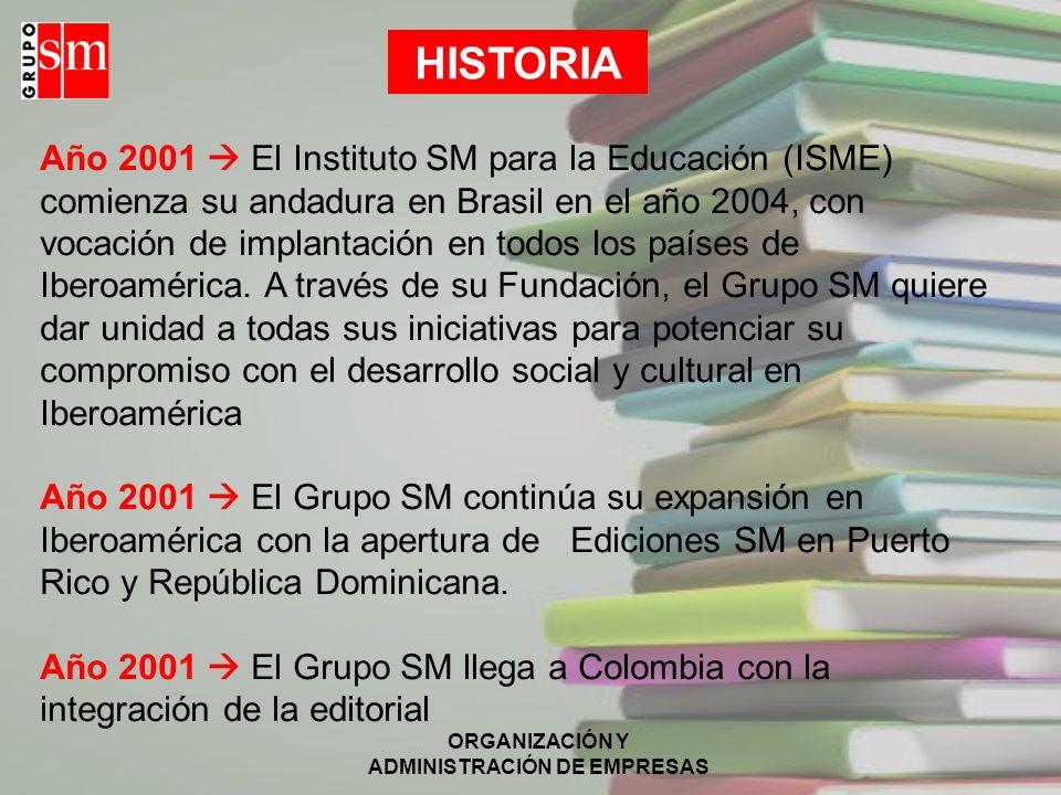 ORGANIZACIÓN Y ADMINISTRACIÓN DE EMPRESAS Año 2001 El Instituto SM para la Educación (ISME) comienza su andadura en Brasil en el año 2004, con vocació