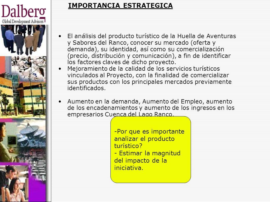 IMPORTANCIA ESTRATEGICA El análisis del producto turístico de la Huella de Aventuras y Sabores del Ranco, conocer su mercado (oferta y demanda), su id