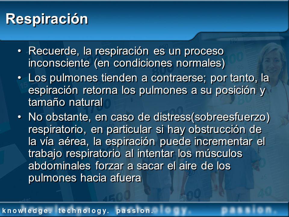 Respiración Recuerde, la respiración es un proceso inconsciente (en condiciones normales) Los pulmones tienden a contraerse; por tanto, la espiración
