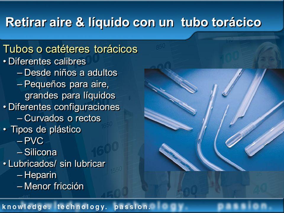 Retirar aire & líquido con un tubo torácico Tubos o catéteres torácicos Diferentes calibres –Desde niños a adultos –Pequeños para aire, grandes para l