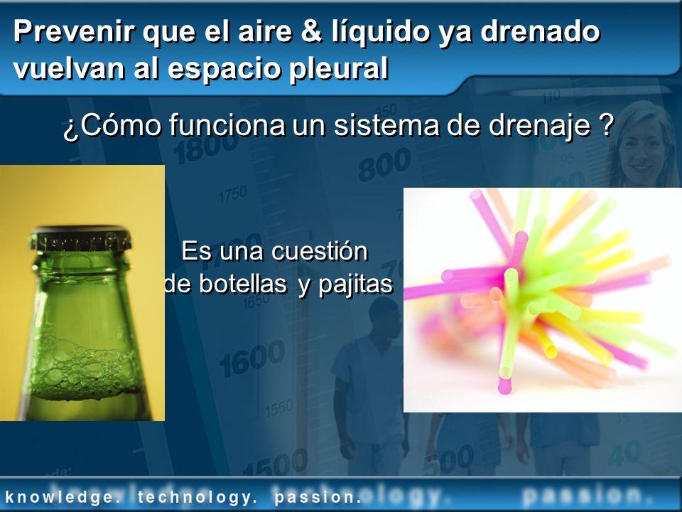 Prevenir que el aire & líquido ya drenado vuelvan al espacio pleural ¿Cómo funciona un sistema de drenaje ? Es una cuestión de botellas y pajitas ¿Cóm