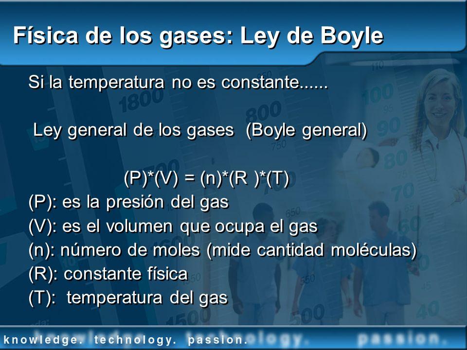 Física de los gases: Ley de Boyle Si la temperatura no es constante...... Ley general de los gases (Boyle general) (P)*(V) = (n)*(R )*(T) (P): es la p