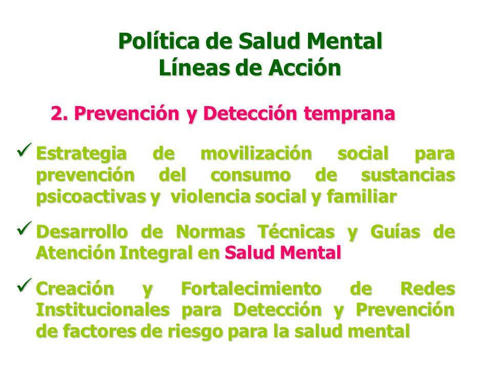 1. Promoción de la Salud Mental Política de Salud Mental Líneas de Acción Estrategia Habilidades para Vivir Estrategia Habilidades para Vivir Moviliza