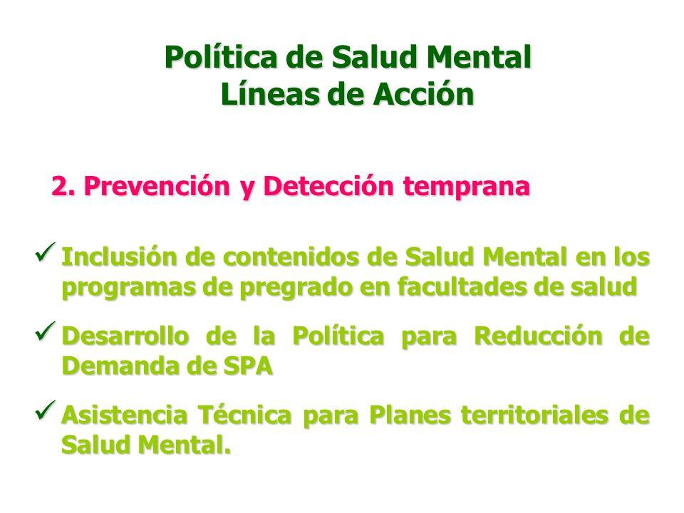 Política de Salud Mental Líneas de Acción 2. Prevención y Detección temprana Estrategia de movilización social para prevención del consumo de sustanci