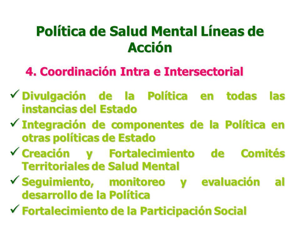 Política de Salud Mental Líneas de Acción 4. Investigación y Vigilancia en Salud Mental Incorporación de variables de salud mental en el SIVIGILA Inco