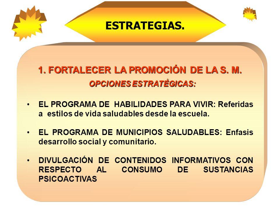 1.FORTALECER LA PROMOCIÓN DE LA S. M.