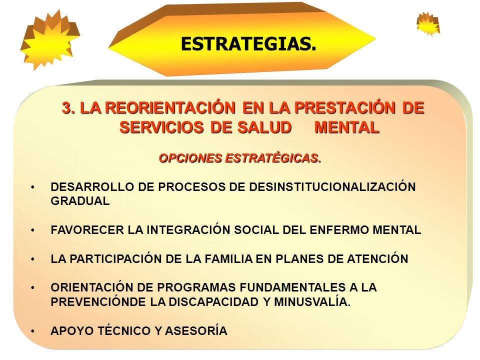 4 años 4 años Desarrollar una política nacional de Salud Mental que reduzca el impacto de la enfermedad mental en las condiciones generales de salud de la población colombiana que opere en todos los niveles territoriales Metas del Plan Estratégico