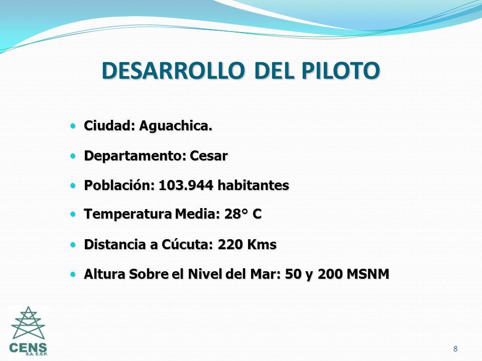 8 DESARROLLO DEL PILOTO Ciudad: Aguachica. Ciudad: Aguachica. Departamento: Cesar Departamento: Cesar Población: 103.944 habitantes Población: 103.944