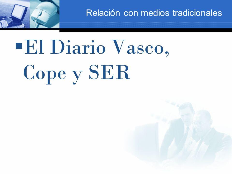Relación con medios tradicionales El Diario Vasco, Cope y SER