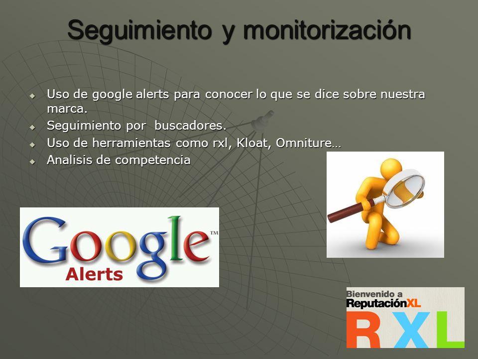 Seguimiento y monitorización Uso de google alerts para conocer lo que se dice sobre nuestra marca. Uso de google alerts para conocer lo que se dice so