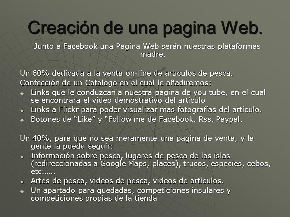 Creación de una pagina Web. Junto a Facebook una Pagina Web serán nuestras plataformas madre. Un 60% dedicada a la venta on-line de artículos de pesca