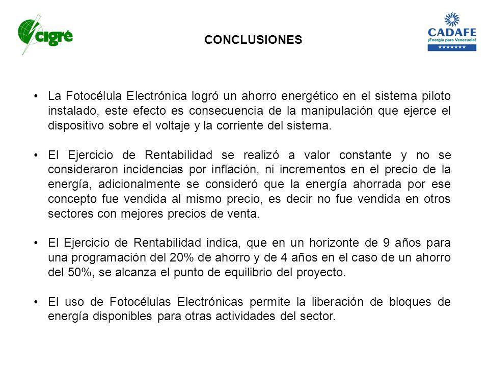 CONCLUSIONES La Fotocélula Electrónica logró un ahorro energético en el sistema piloto instalado, este efecto es consecuencia de la manipulación que e