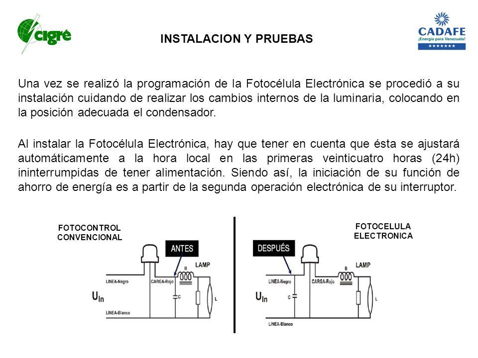 Una vez se realizó la programación de la Fotocélula Electrónica se procedió a su instalación cuidando de realizar los cambios internos de la luminaria
