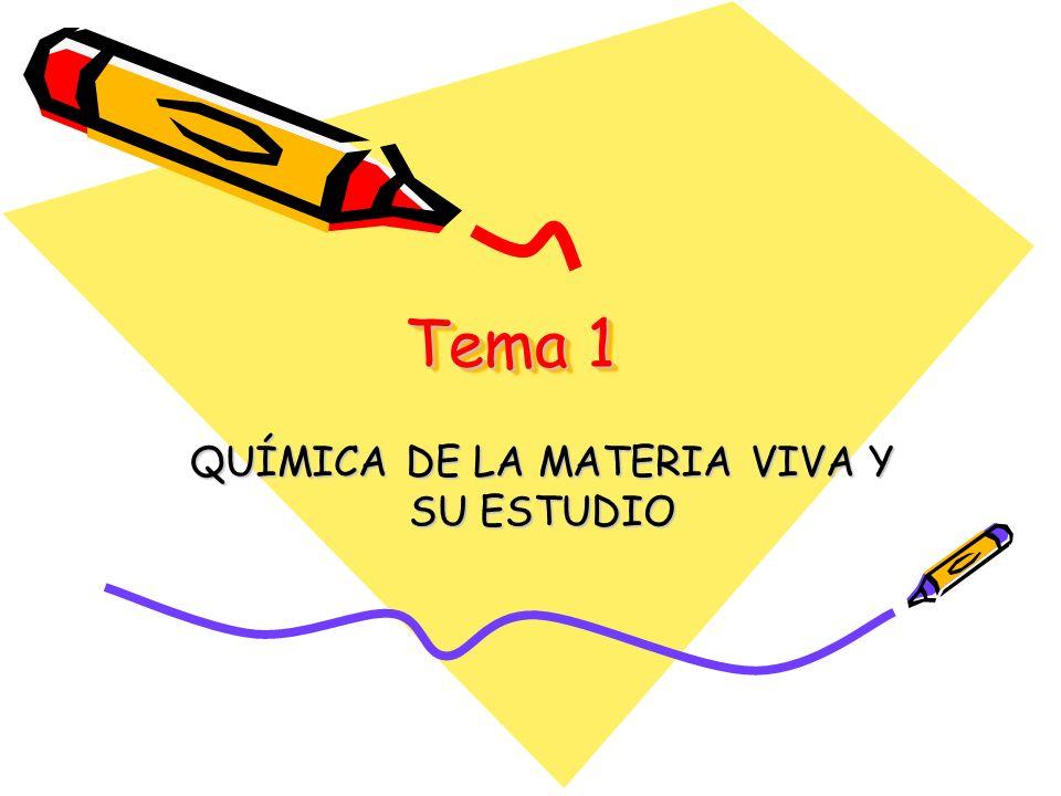 Tema 1 QUÍMICA DE LA MATERIA VIVA Y SU ESTUDIO