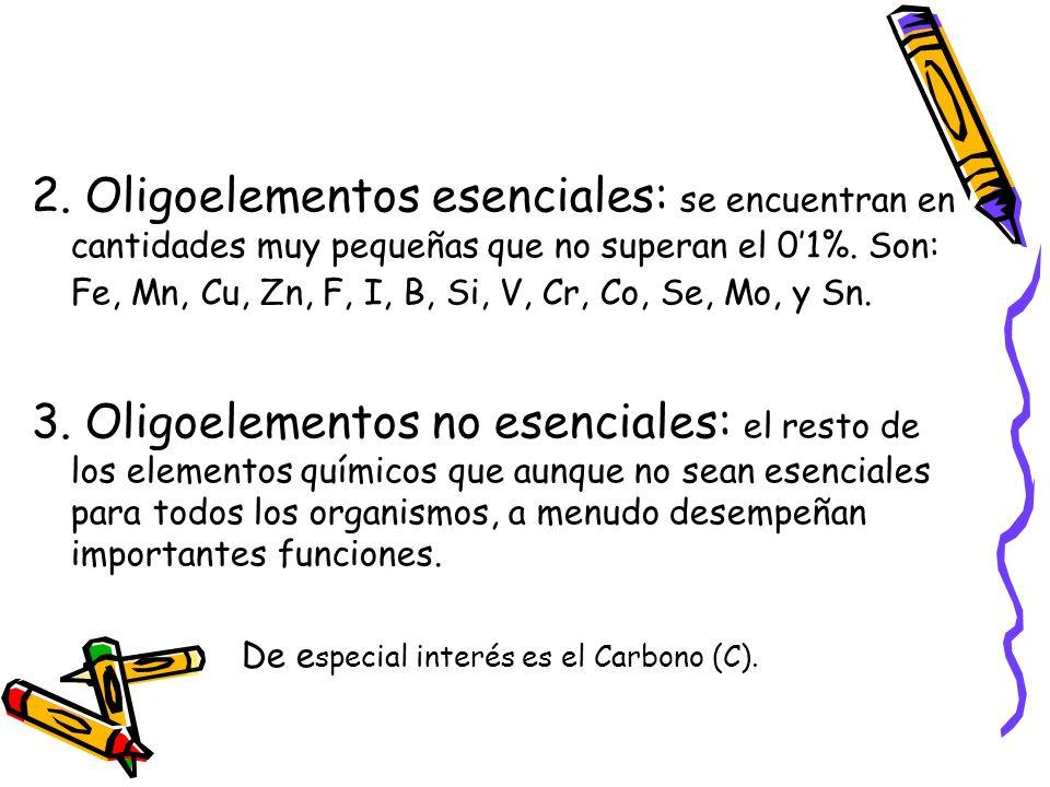 2. Oligoelementos esenciales: se encuentran en cantidades muy pequeñas que no superan el 01%. Son: Fe, Mn, Cu, Zn, F, I, B, Si, V, Cr, Co, Se, Mo, y S
