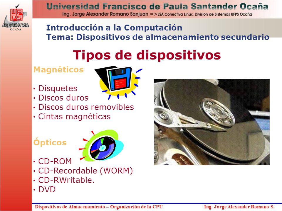 Introducción a la Computación Tema: Dispositivos de almacenamiento secundario Tipos de dispositivos Magnéticos Disquetes Discos duros Discos duros rem