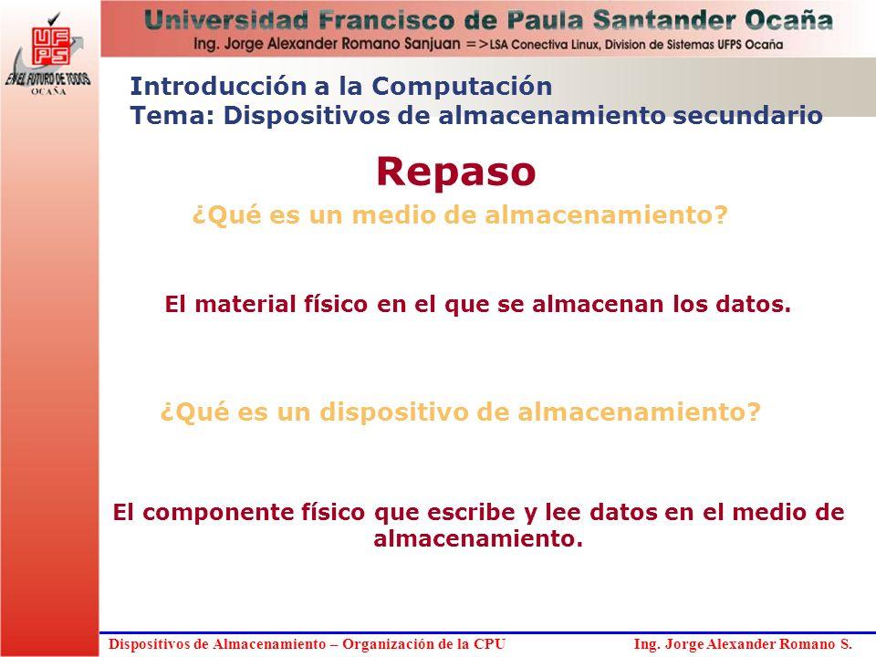 Dispositivos de Almacenamiento – Organización de la CPU Ing. Jorge Alexander Romano S. ¿Qué es un medio de almacenamiento? El material físico en el qu