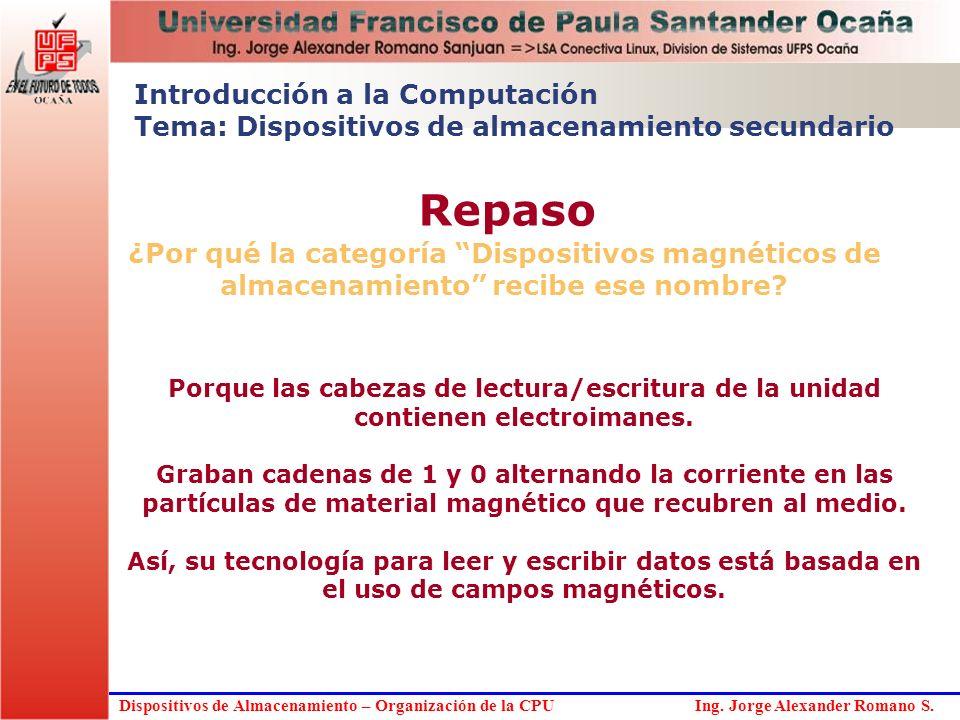 Dispositivos de Almacenamiento – Organización de la CPU Ing. Jorge Alexander Romano S. ¿Por qué la categoría Dispositivos magnéticos de almacenamiento