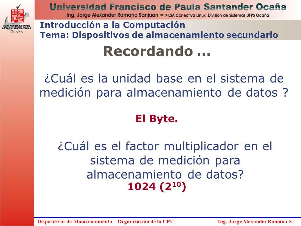 Dispositivos de Almacenamiento – Organización de la CPU Ing. Jorge Alexander Romano S. Introducción a la Computación Tema: Dispositivos de almacenamie