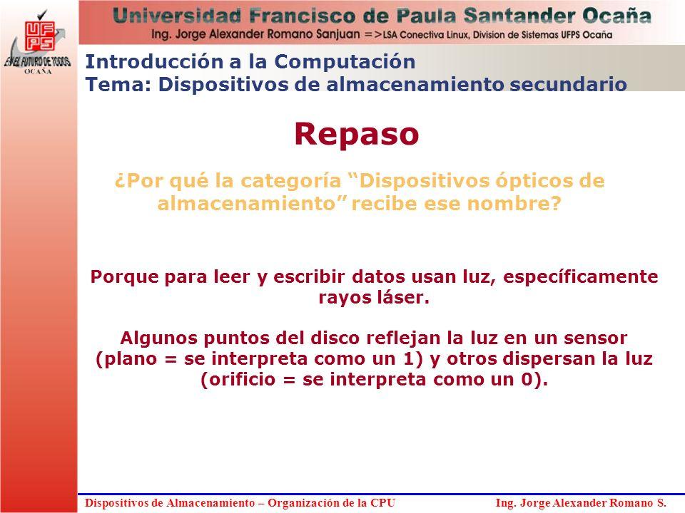 Dispositivos de Almacenamiento – Organización de la CPU Ing. Jorge Alexander Romano S. ¿Por qué la categoría Dispositivos ópticos de almacenamiento re