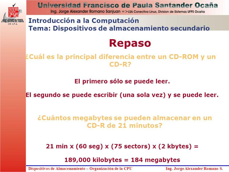 Dispositivos de Almacenamiento – Organización de la CPU Ing. Jorge Alexander Romano S. ¿Cuál es la principal diferencia entre un CD-ROM y un CD-R? El