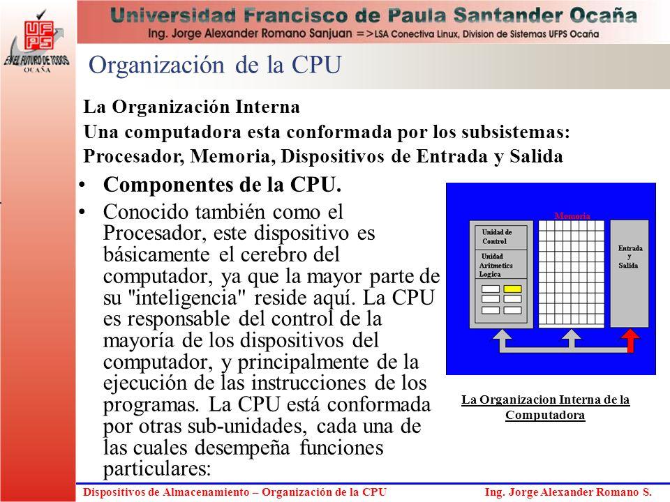 Dispositivos de Almacenamiento – Organización de la CPU Ing. Jorge Alexander Romano S. Organización de la CPU Componentes de la CPU. Conocido también