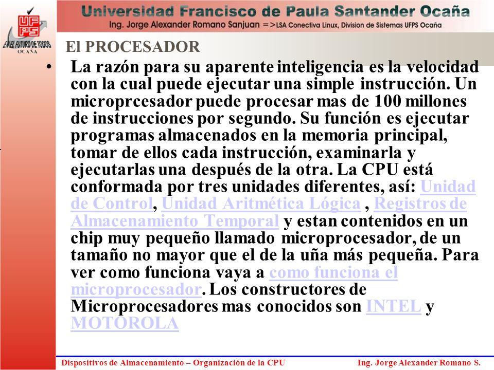 Dispositivos de Almacenamiento – Organización de la CPU Ing. Jorge Alexander Romano S. La razón para su aparente inteligencia es la velocidad con la c