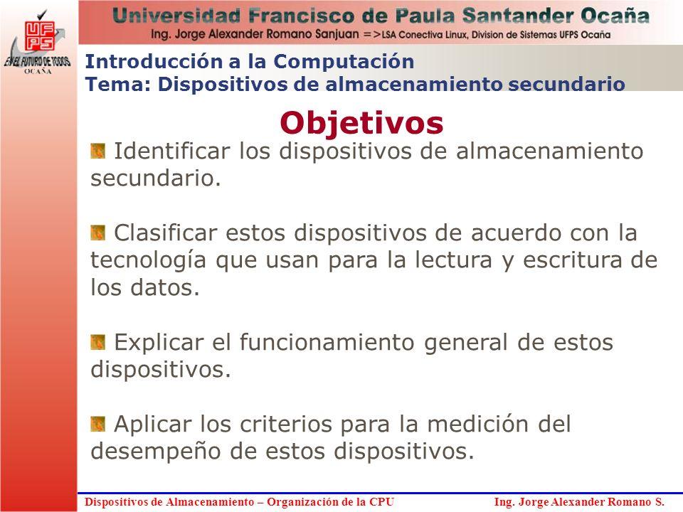 Dispositivos de Almacenamiento – Organización de la CPU Ing. Jorge Alexander Romano S. Objetivos Introducción a la Computación Tema: Dispositivos de a