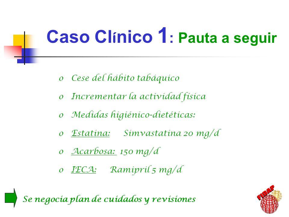 o Cese del hábito tabáquico o Incrementar la actividad física o Medidas higiénico-dietéticas: o Estatina: Simvastatina 20 mg/d o Acarbosa: 150 mg/d o