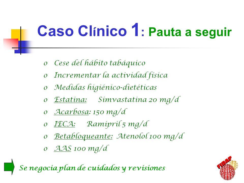 o Cese del hábito tabáquico o Incrementar la actividad física o Medidas higiénico-dietéticas o Estatina: Simvastatina 20 mg/d o Acarbosa: 150 mg/d o I