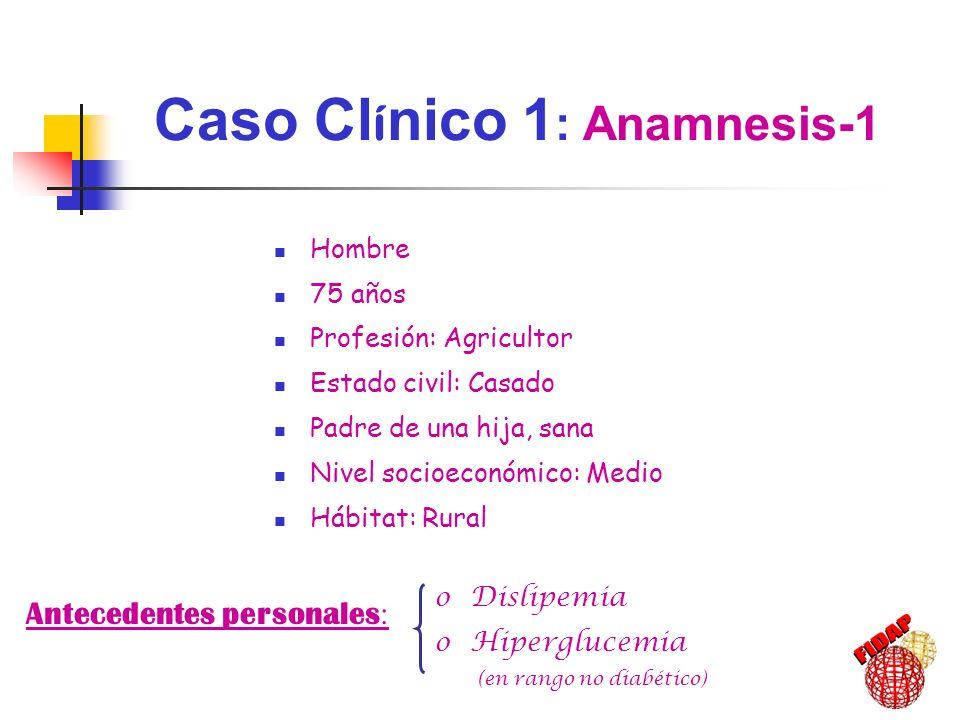 Presenta antecedentes familiares de : oECV no precoz (5 hermanos: 3 angor, 1 ACV) oDM 2 (madre y 2 hermanos) oDislipemia (5 hermanos) No presenta antecedentes familiares de : oECV prematura oHTA oEnfermedades alérgicas oInmunodeficiencias oNeoplasias oTrastornos genéticos Caso Cl í nico 1 : Anamnesis-2