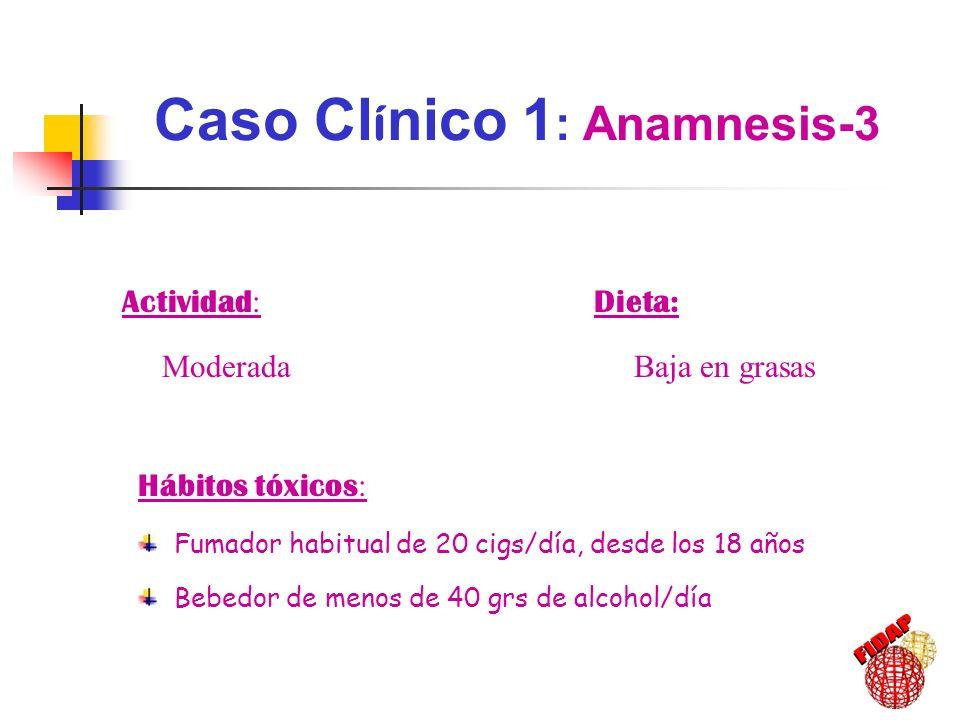 61-70 años de edad: IMC: 23 kg/m 2 Cifras de PA: 132-138 / 85-88 Glucemia: 115-123 mg/dl Triglicéridos: 190-240 mg/dl Colesterol total: 198-205 mg/dl c-LDL: 150-180 mg/dl c-HDL < 30 mg/dl ECG Normal SÍNDROME METABÓLICO Diagnóstico ATP III = 3 / 5: Perímetro cintura 102 cm Perímetro cintura 102 cm Triglicéridos >150 mg/dl Triglicéridos >150 mg/dl HDL <40 HDL <40 Glucemia >110 Glucemia >110 PA >130/85 PA >130/85 Caso Cl í nico 1 : Evoluci ó n 1989-1998