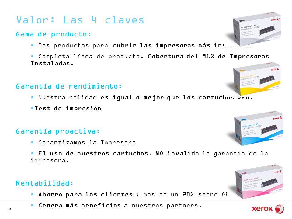 8 Gama de producto: Mas productos para cubrir las impresoras más instaladas Completa línea de producto. Cobertura del 96% de Impresoras Instaladas. Ga