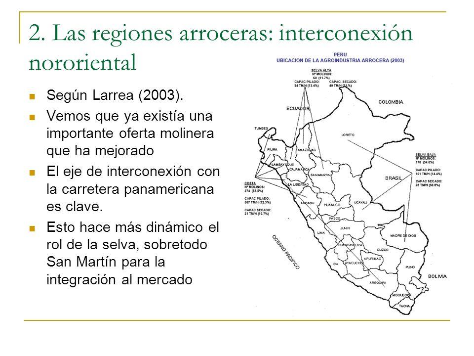 2. Las regiones arroceras: interconexión nororiental Según Larrea (2003). Vemos que ya existía una importante oferta molinera que ha mejorado El eje d