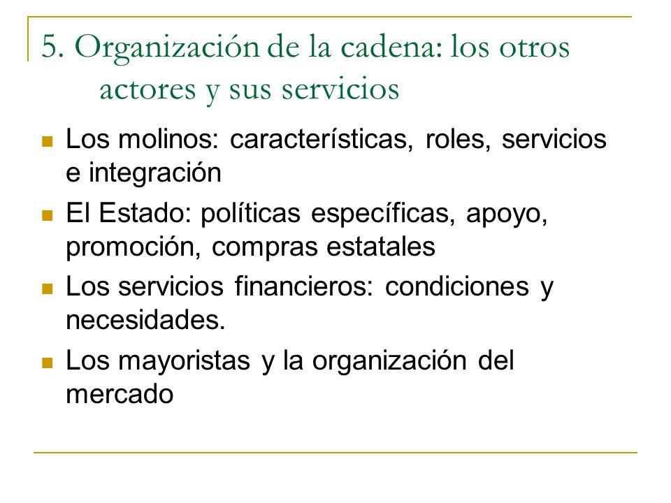 5. Organización de la cadena: los otros actores y sus servicios Los molinos: características, roles, servicios e integración El Estado: políticas espe