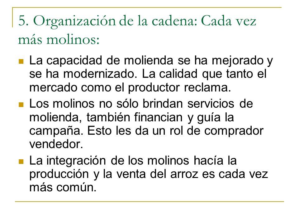 5. Organización de la cadena: Cada vez más molinos: La capacidad de molienda se ha mejorado y se ha modernizado. La calidad que tanto el mercado como