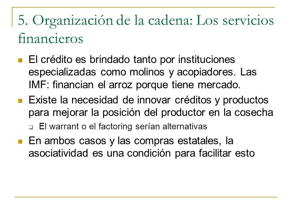 5. Organización de la cadena: Los servicios financieros El crédito es brindado tanto por instituciones especializadas como molinos y acopiadores. Las