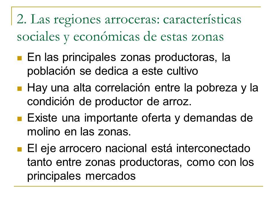 2. Las regiones arroceras: características sociales y económicas de estas zonas En las principales zonas productoras, la población se dedica a este cu