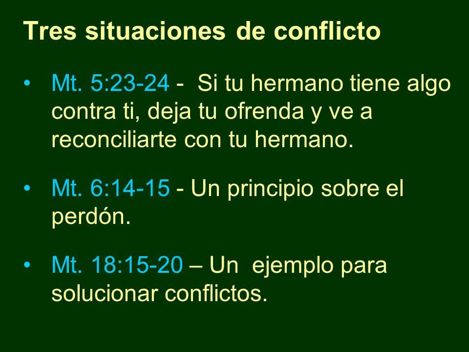 Tres situaciones de conflicto Mt. 5:23-24 - Si tu hermano tiene algo contra ti, deja tu ofrenda y ve a reconciliarte con tu hermano. Mt. 6:14-15 - Un