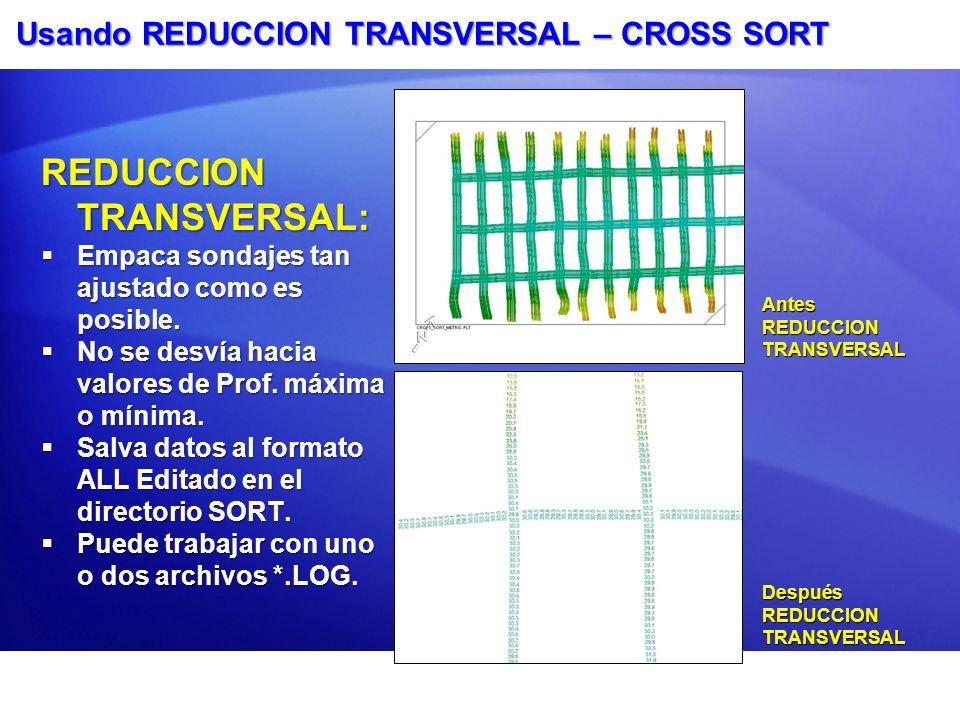 Usando REDUCCION TRANSVERSAL – CROSS SORT REDUCCION TRANSVERSAL: Empaca sondajes tan ajustado como es posible. Empaca sondajes tan ajustado como es po