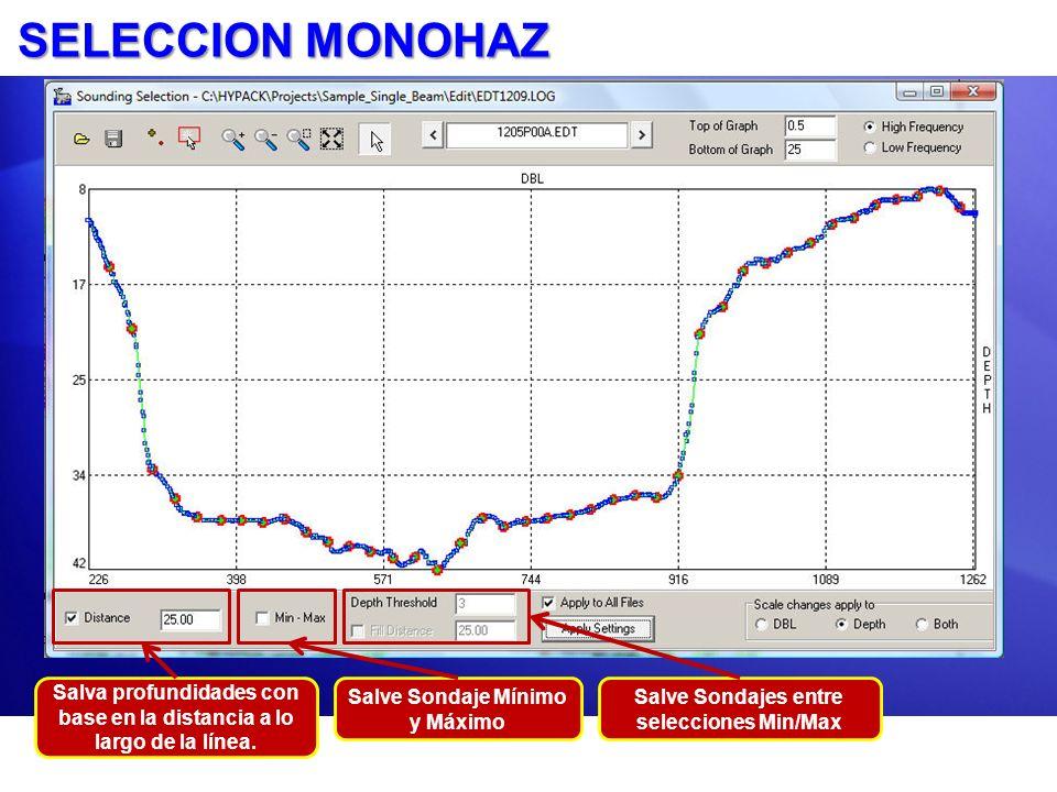 SELECCION MONOHAZ Salva profundidades con base en la distancia a lo largo de la línea. Salve Sondaje Mínimo y Máximo Salve Sondajes entre selecciones