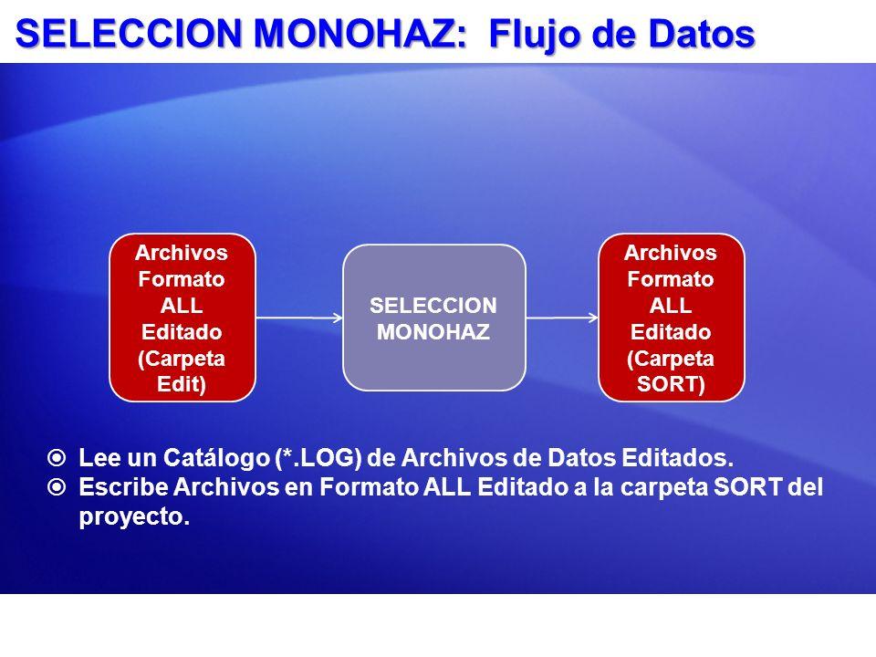 SELECCION MONOHAZ: Flujo de Datos Lee un Catálogo (*.LOG) de Archivos de Datos Editados. Escribe Archivos en Formato ALL Editado a la carpeta SORT del