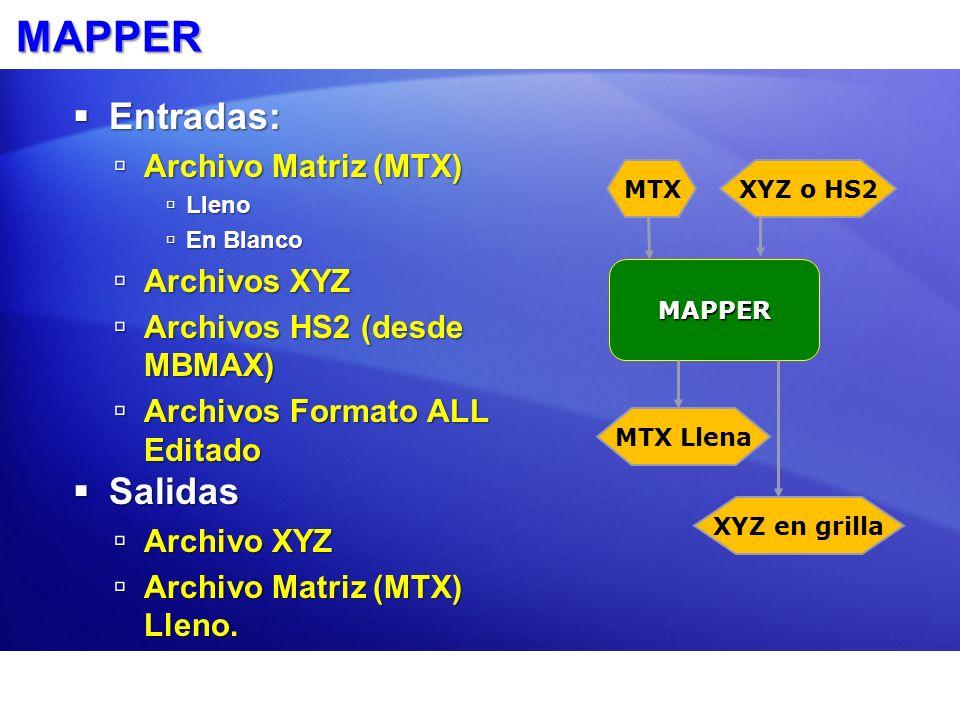 MAPPER Entradas: Entradas: Archivo Matriz (MTX) Archivo Matriz (MTX) Lleno Lleno En Blanco En Blanco Archivos XYZ Archivos XYZ Archivos HS2 (desde MBM