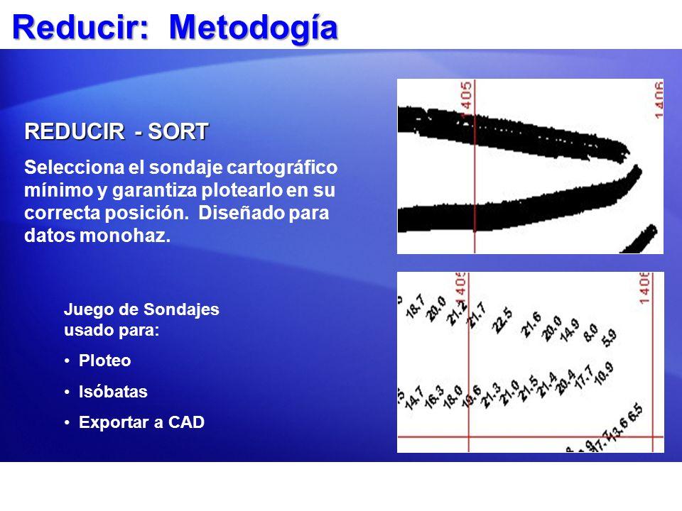 Reducir: Metodogía REDUCIR - SORT Selecciona el sondaje cartográfico mínimo y garantiza plotearlo en su correcta posición. Diseñado para datos monohaz