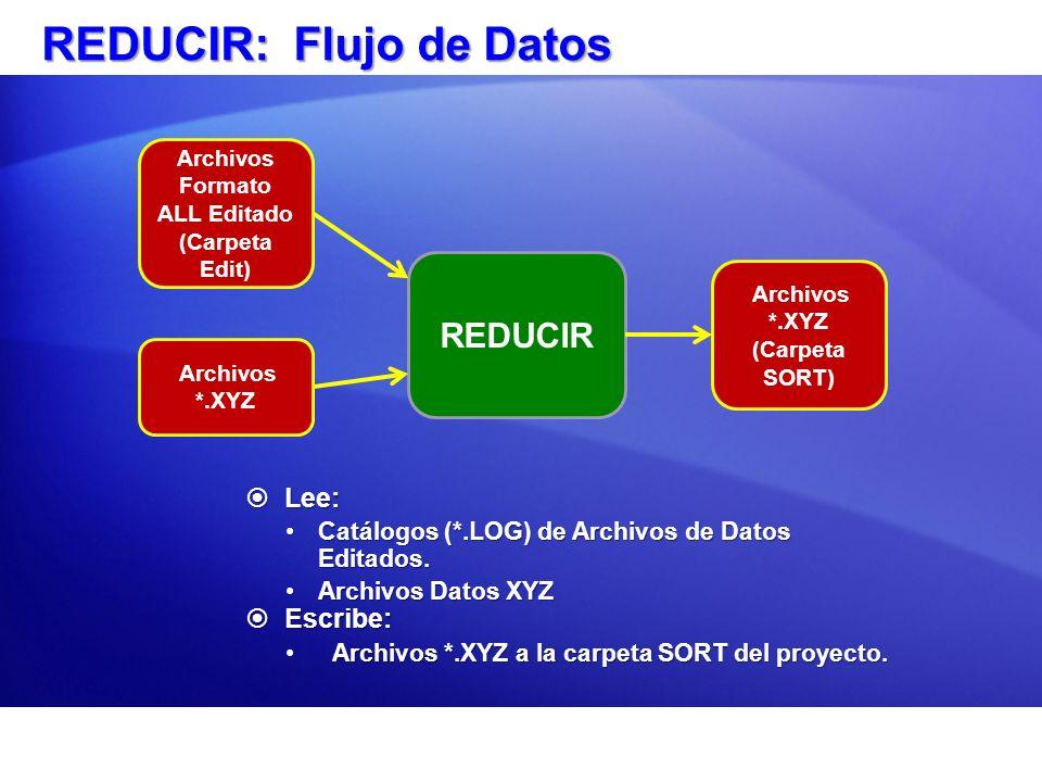 REDUCIR: Flujo de Datos Lee: Lee: Catálogos (*.LOG) de Archivos de Datos Editados.Catálogos (*.LOG) de Archivos de Datos Editados. Archivos Datos XYZA