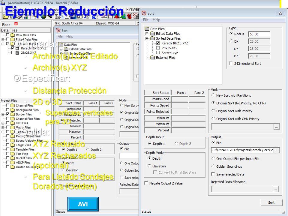 Ejemplo Reducción Entrada: Entrada: Archivo(s) LOG EditadoArchivo(s) LOG Editado Archivo(s) XYZArchivo(s) XYZ Especificar: Especificar: Distancia Prot