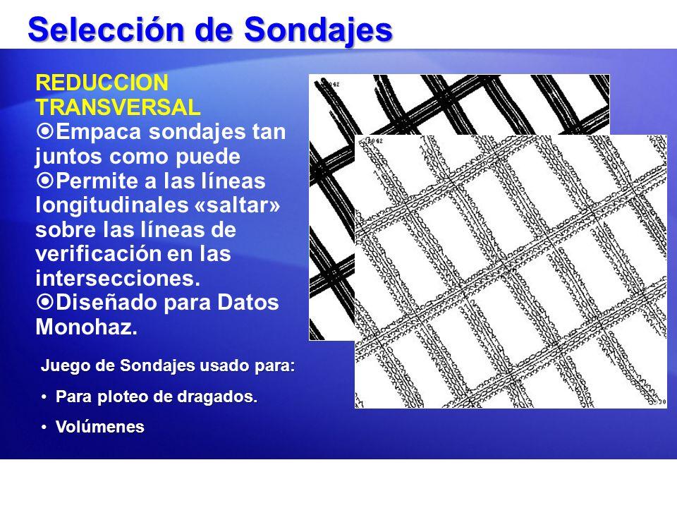 Selección de Sondajes REDUCCION TRANSVERSAL Empaca sondajes tan juntos como puede Permite a las líneas longitudinales «saltar» sobre las líneas de ver
