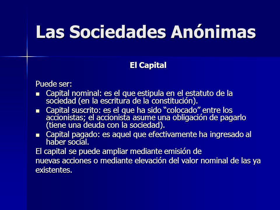 Las Sociedades Anónimas El Capital Puede ser: Capital nominal: es el que estipula en el estatuto de la sociedad (en la escritura de la constitución).